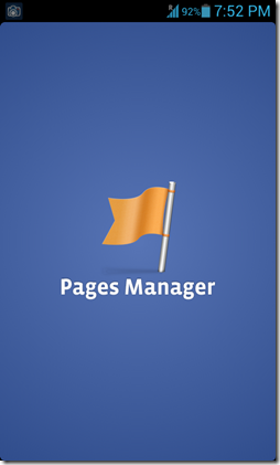 Pages manager splash screen