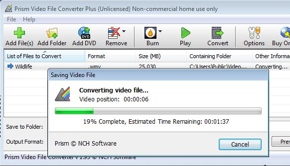 Prism Video File Converter converting video