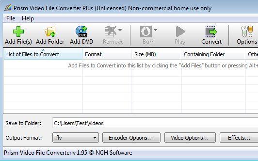 Prism Video File Converter default window