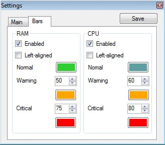 RAM CPU Taskbar adjusting colors