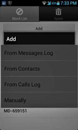 SMS Filter add contacts to block list
