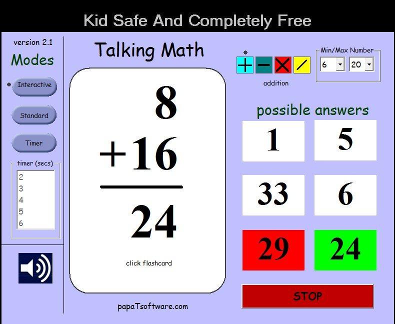 Free Software to Teach Maths to Kids: TalkingMath