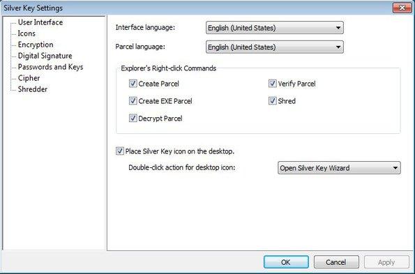 Silver Key settings