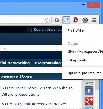 Slick Write default window