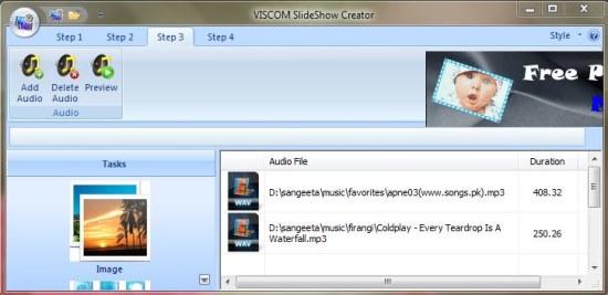 VISCOM Photo Slideshow Creator audio