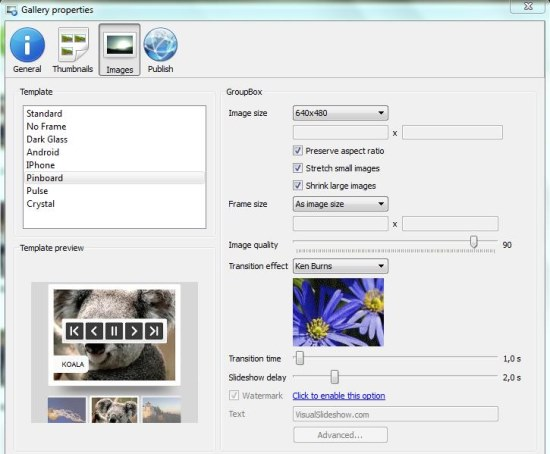 Visual SlideShow thumbnails