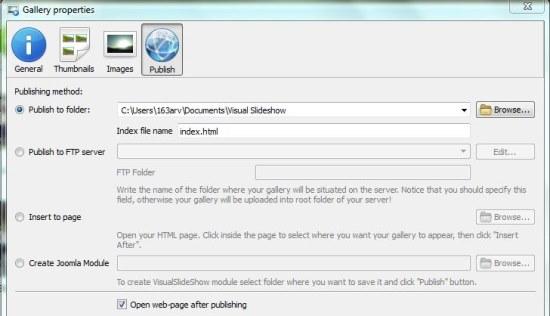 Visual SlideShow publish