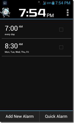 Walk me up alarm home screen