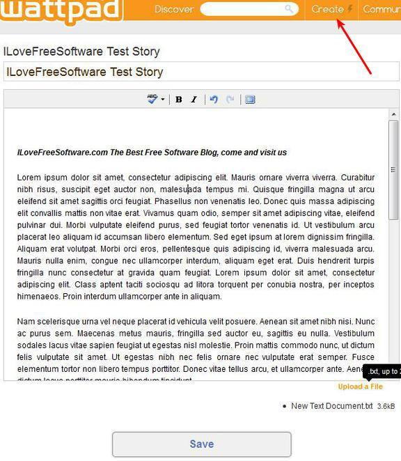 Wattpad text editor