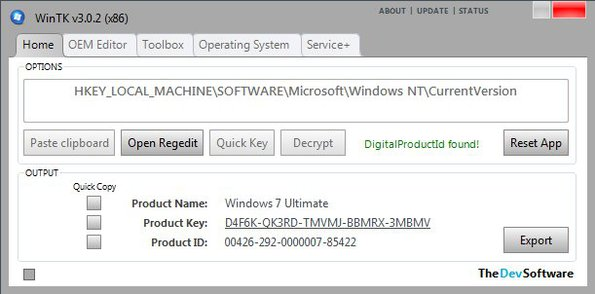 WinTK retrieve product key