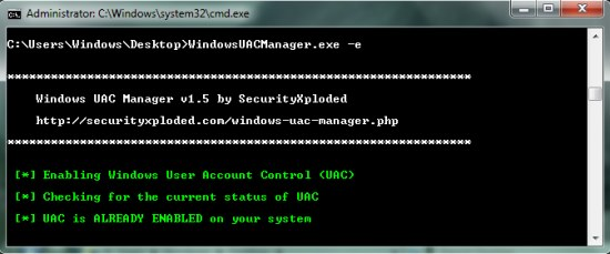 Windows UAC Manager enable