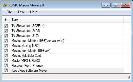 XBMC Media Move default window