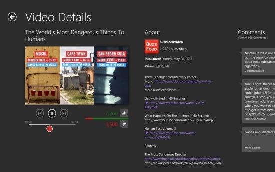 YouTube Player Windows 8 Hyper For YouTube