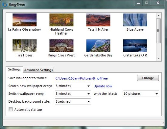 bing4free desktop interface