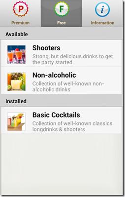 cocktail packages menu