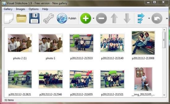 Visual SlideShow choose photos