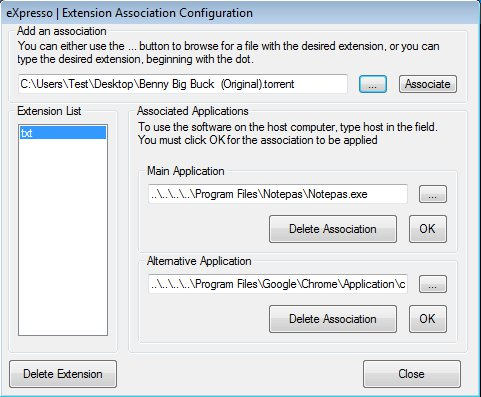 eXpresso extension configuration