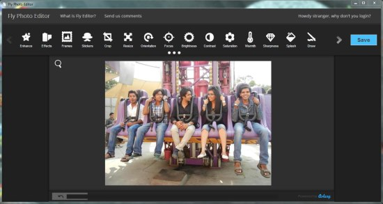 fly photo editor interface