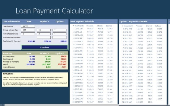free Loan Payment Calculator App For Windows 8