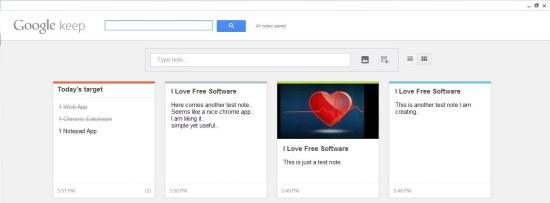 google keep inteface