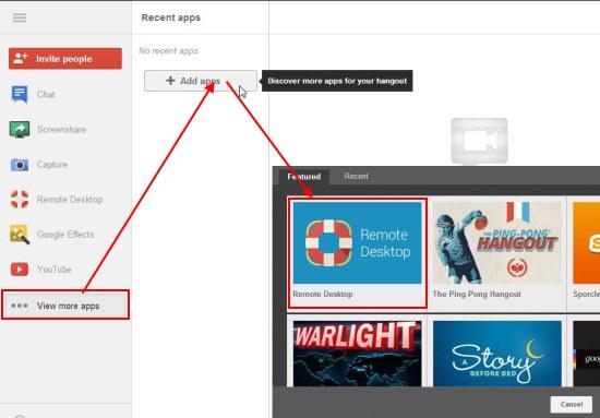 hangouts remote desktop add app