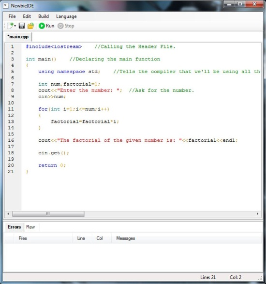 newbie ide C++ dode