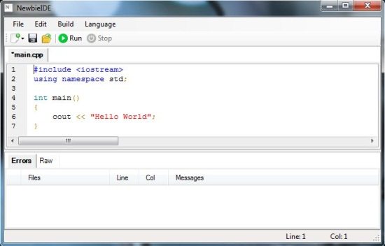 newbie ide interface