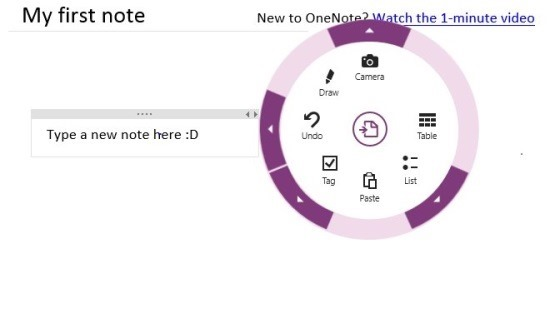 radial controls in OneNote App For Windows 8