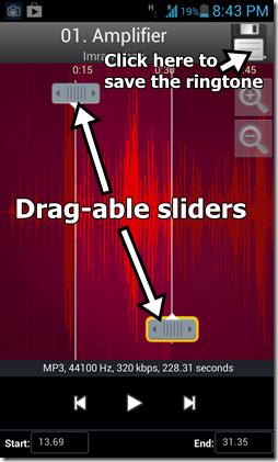ringtone editor screen sliders