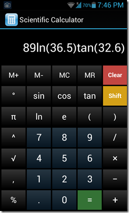 scientific calculator interface