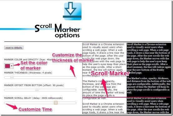 scroll marker options