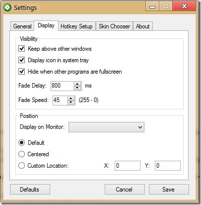 settings display pane