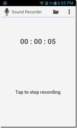 sound recorder running recording