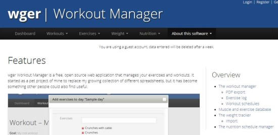 wger Workout Manager interface