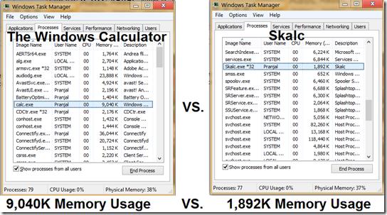 windows calc memory usage