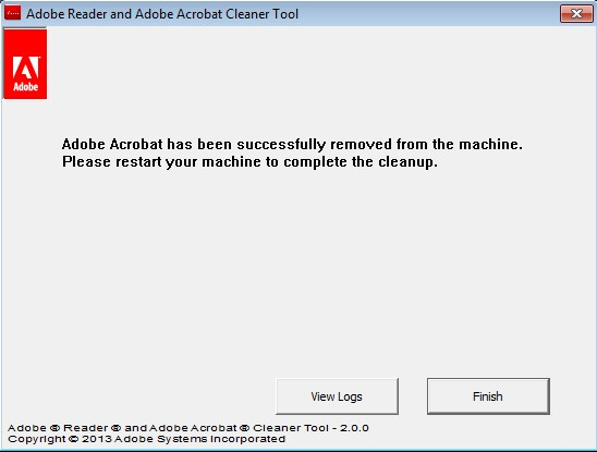 AcroCleaner finished uninstall