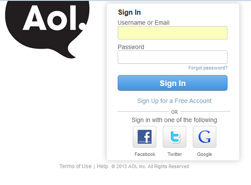 Aol sign in