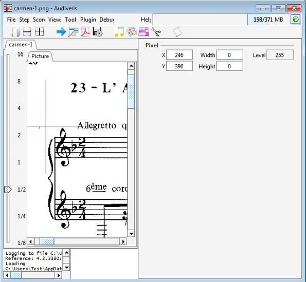 Audiveris opened music sheet image