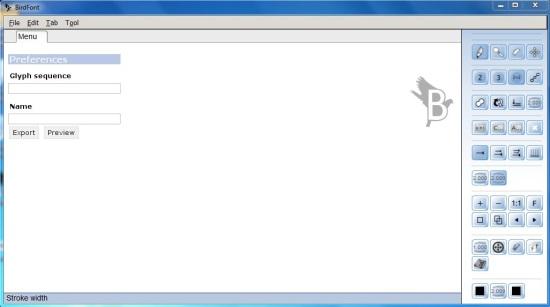 Birdfont interface