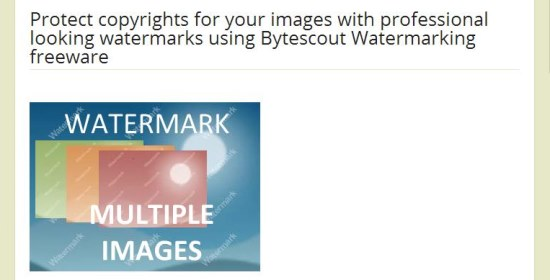 Bytescout Watermarking Freeware interface