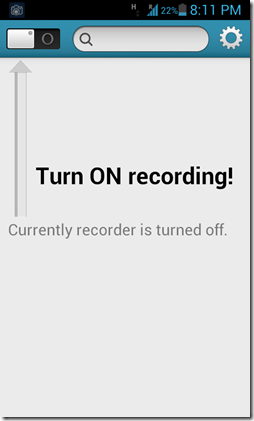 Call recorder main screen