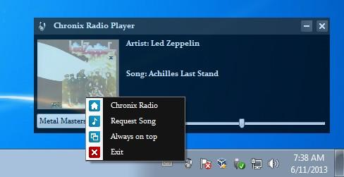 Chronix Radio Player playing songs tray