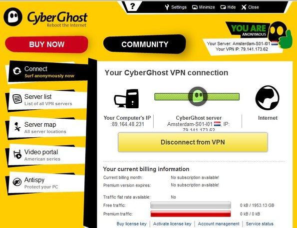 CyberGhost interface