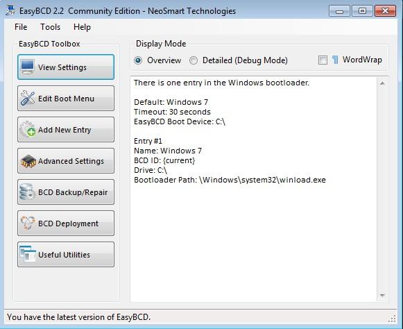EasyBCD default window
