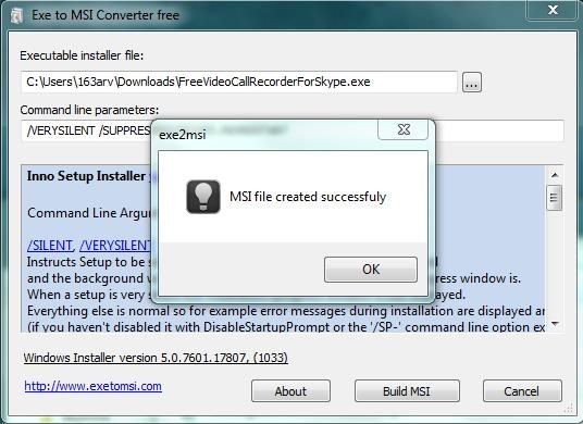 Exe to Msi Converter Free file conversion success