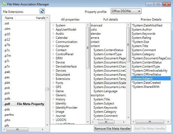 File Metadata selection