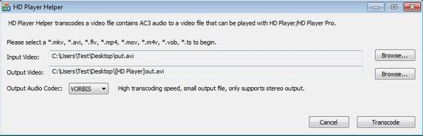 HD Player Helper default window