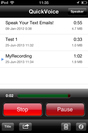 QuickVoice® Recorder-record-pause-resume-voice meter-voice recorder for iPhone