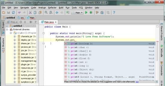 IntelliJ IDEA Community Edition code completion