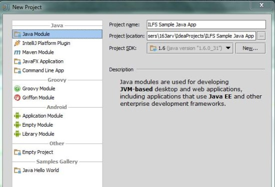 IntelliJ IDEA Community Edition create project